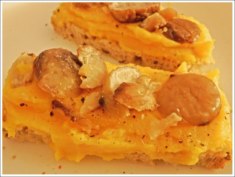 Tartine purée de butternut et châtaignes